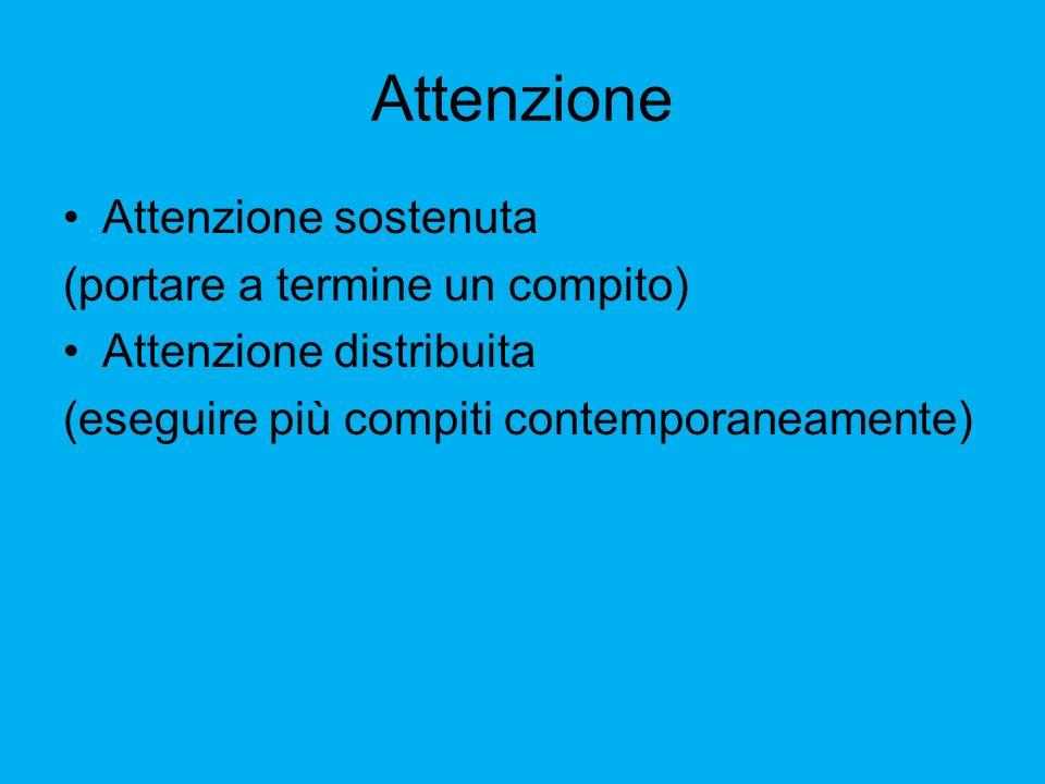 Attenzione Attenzione sostenuta (portare a termine un compito) Attenzione distribuita (eseguire più compiti contemporaneamente)
