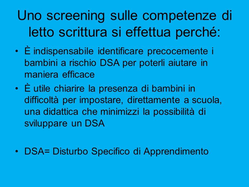 Uno screening sulle competenze di letto scrittura si effettua perché: È indispensabile identificare precocemente i bambini a rischio DSA per poterli a