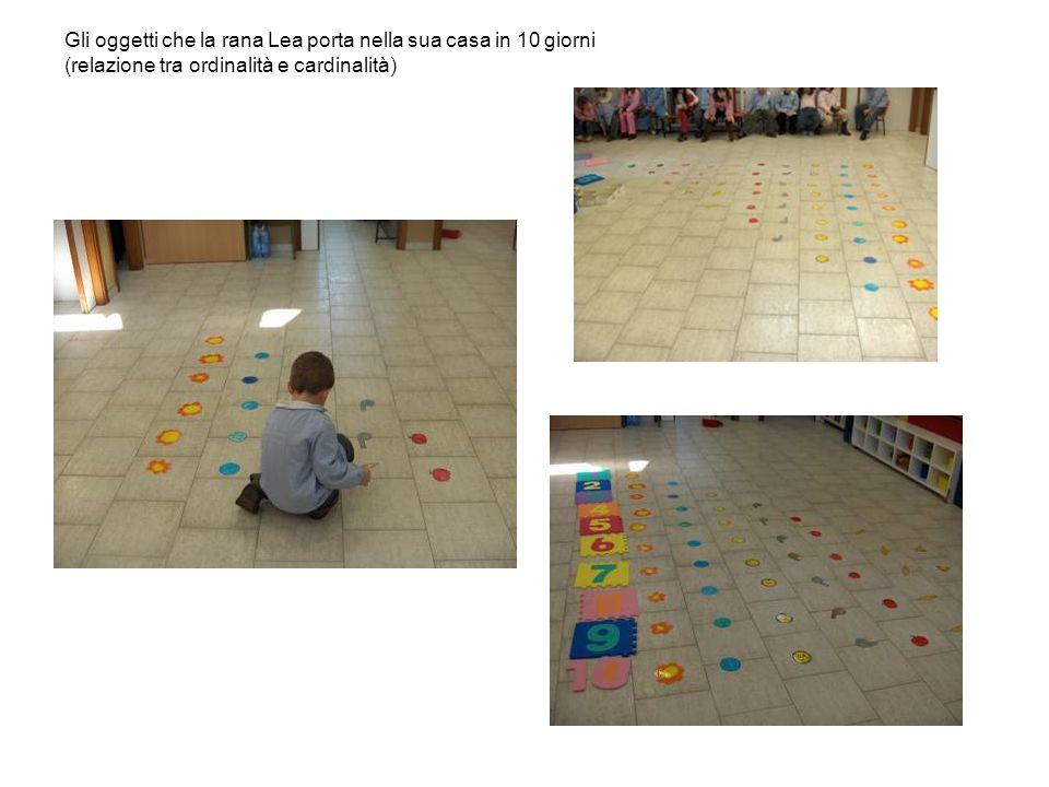 Gli oggetti che la rana Lea porta nella sua casa in 10 giorni (relazione tra ordinalità e cardinalità)