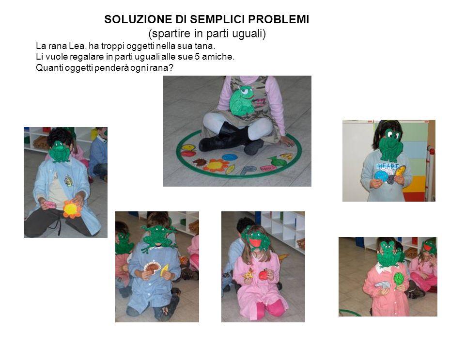 SOLUZIONE DI SEMPLICI PROBLEMI (spartire in parti uguali) La rana Lea, ha troppi oggetti nella sua tana. Li vuole regalare in parti uguali alle sue 5