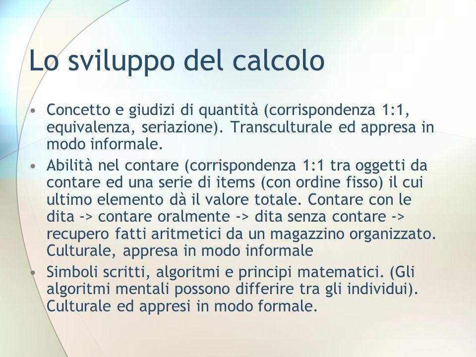 Lo sviluppo del calcolo Concetto e giudizi di quantità (corrispondenza 1:1, equivalenza, seriazione). Transculturale ed appresa in modo informale. Abi