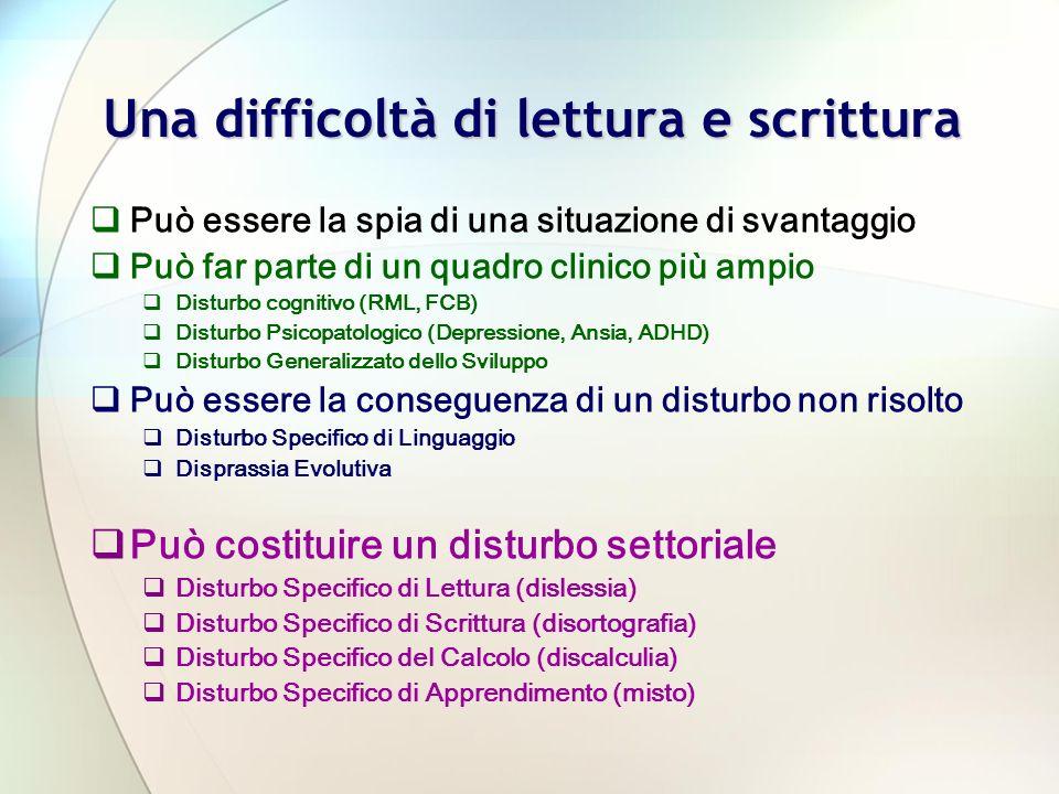 Una difficoltà di lettura e scrittura Può essere la spia di una situazione di svantaggio Può far parte di un quadro clinico più ampio Disturbo cognitivo (RML, FCB) Disturbo Psicopatologico (Depressione, Ansia, ADHD) Disturbo Generalizzato dello Sviluppo Può essere la conseguenza di un disturbo non risolto Disturbo Specifico di Linguaggio Disprassia Evolutiva Può costituire un disturbo settoriale Disturbo Specifico di Lettura (dislessia) Disturbo Specifico di Scrittura (disortografia) Disturbo Specifico del Calcolo (discalculia) Disturbo Specifico di Apprendimento (misto)