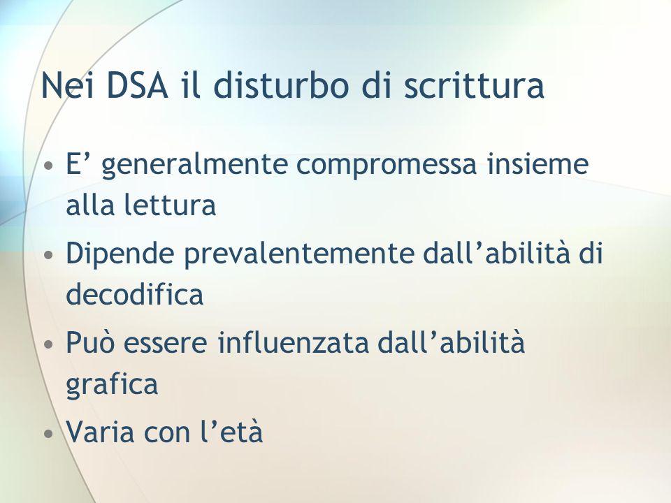 Nei DSA il disturbo di scrittura E generalmente compromessa insieme alla lettura Dipende prevalentemente dallabilità di decodifica Può essere influenz