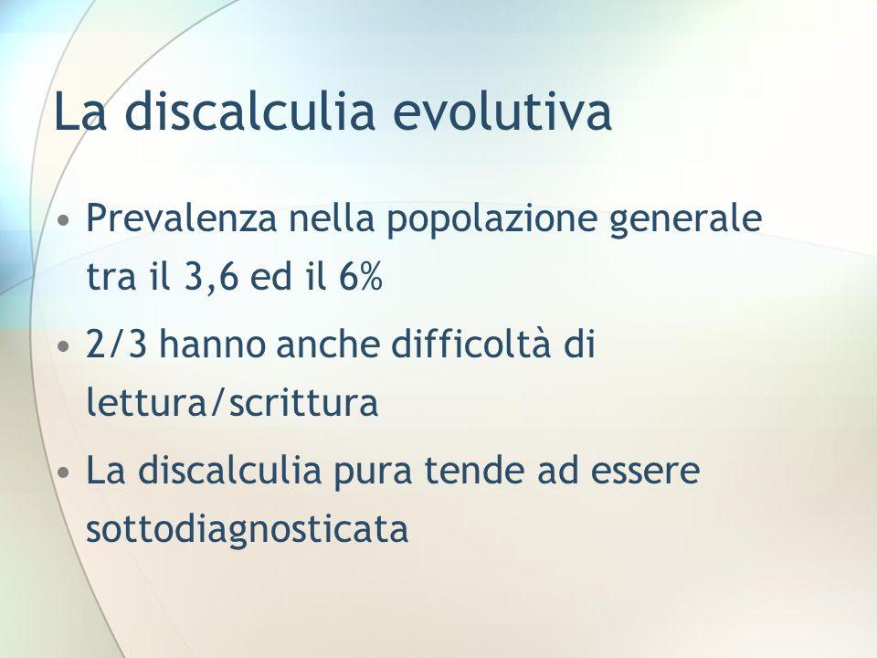 La discalculia evolutiva Prevalenza nella popolazione generale tra il 3,6 ed il 6% 2/3 hanno anche difficoltà di lettura/scrittura La discalculia pura