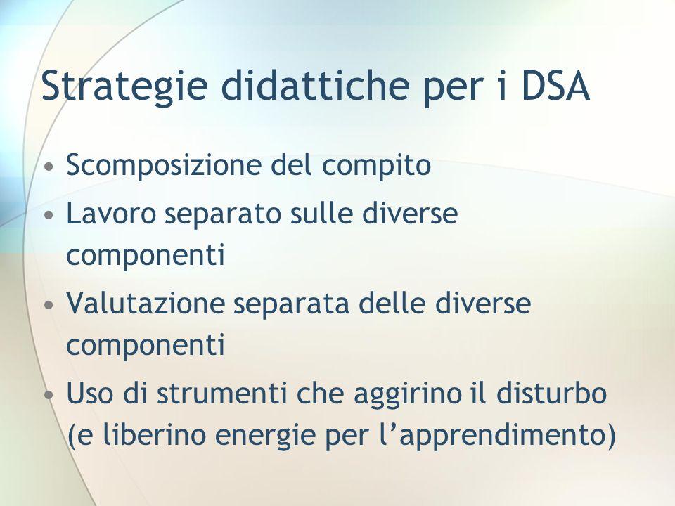 Strategie didattiche per i DSA Scomposizione del compito Lavoro separato sulle diverse componenti Valutazione separata delle diverse componenti Uso di strumenti che aggirino il disturbo (e liberino energie per lapprendimento)