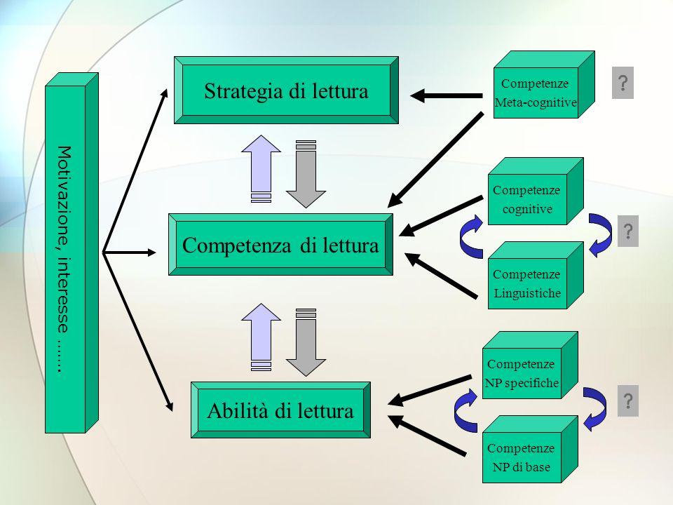 Competenze NP di base Abilità di lettura Competenza di lettura Strategia di lettura Competenze NP specifiche Competenze Linguistiche Competenze cognitive Competenze Meta-cognitive Motivazione, interesse …….