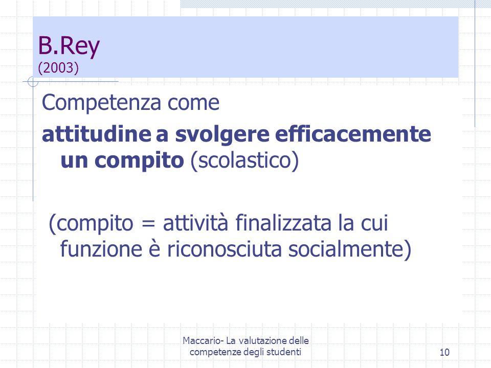 Maccario- La valutazione delle competenze degli studenti10 B.Rey (2003) Competenza come attitudine a svolgere efficacemente un compito (scolastico) (c