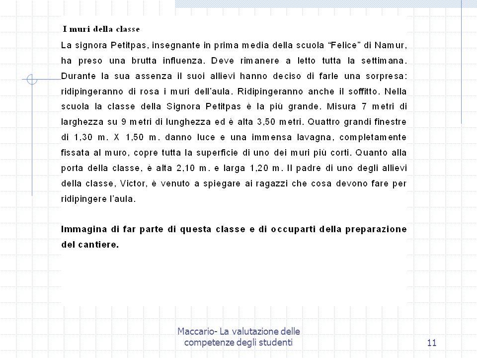 Maccario- La valutazione delle competenze degli studenti11