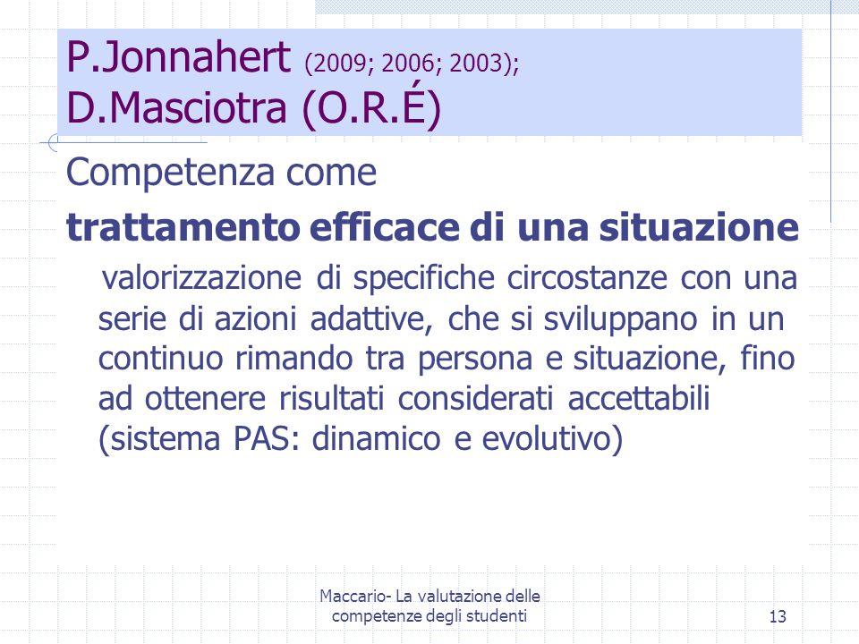 Maccario- La valutazione delle competenze degli studenti13 P.Jonnahert (2009; 2006; 2003); D.Masciotra (O.R.É) Competenza come trattamento efficace di una situazione valorizzazione di specifiche circostanze con una serie di azioni adattive, che si sviluppano in un continuo rimando tra persona e situazione, fino ad ottenere risultati considerati accettabili (sistema PAS: dinamico e evolutivo)