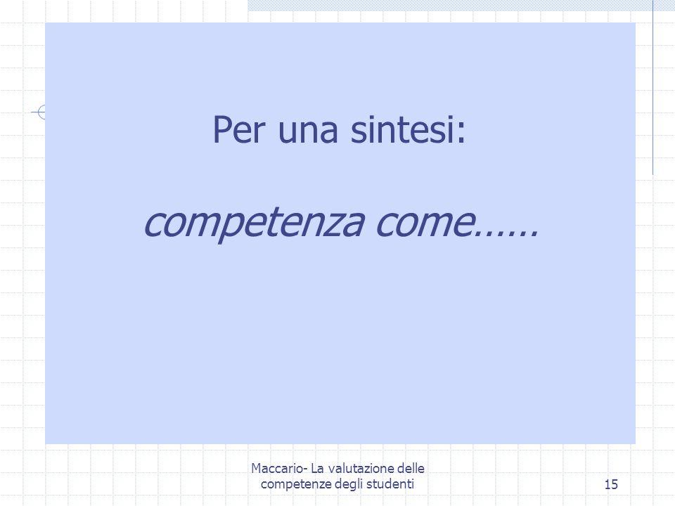 Maccario- La valutazione delle competenze degli studenti15 Per una sintesi: competenza come……