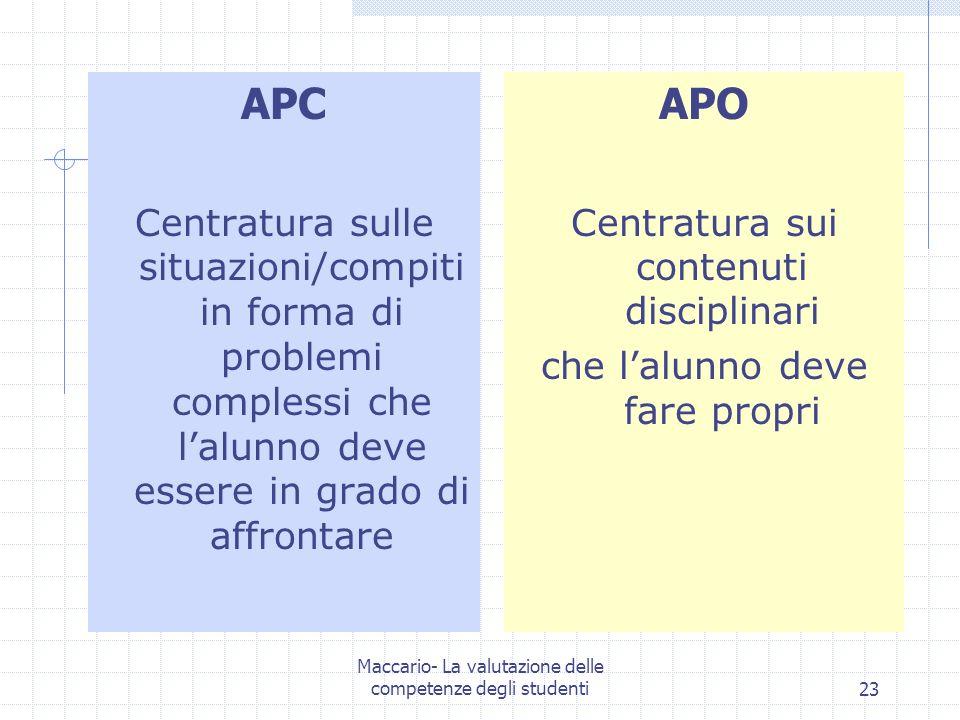 Maccario- La valutazione delle competenze degli studenti23 APC Centratura sulle situazioni/compiti in forma di problemi complessi che lalunno deve ess