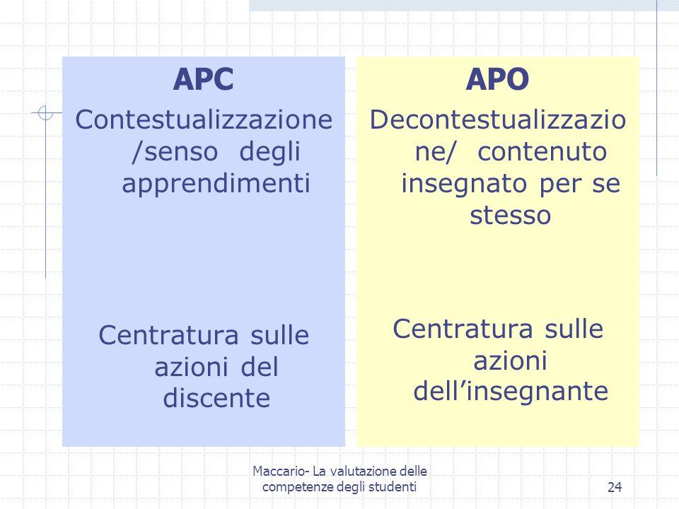 Maccario- La valutazione delle competenze degli studenti24 APC Contestualizzazione /senso degli apprendimenti Centratura sulle azioni del discente APO Decontestualizzazio ne/ contenuto insegnato per se stesso Centratura sulle azioni dellinsegnante