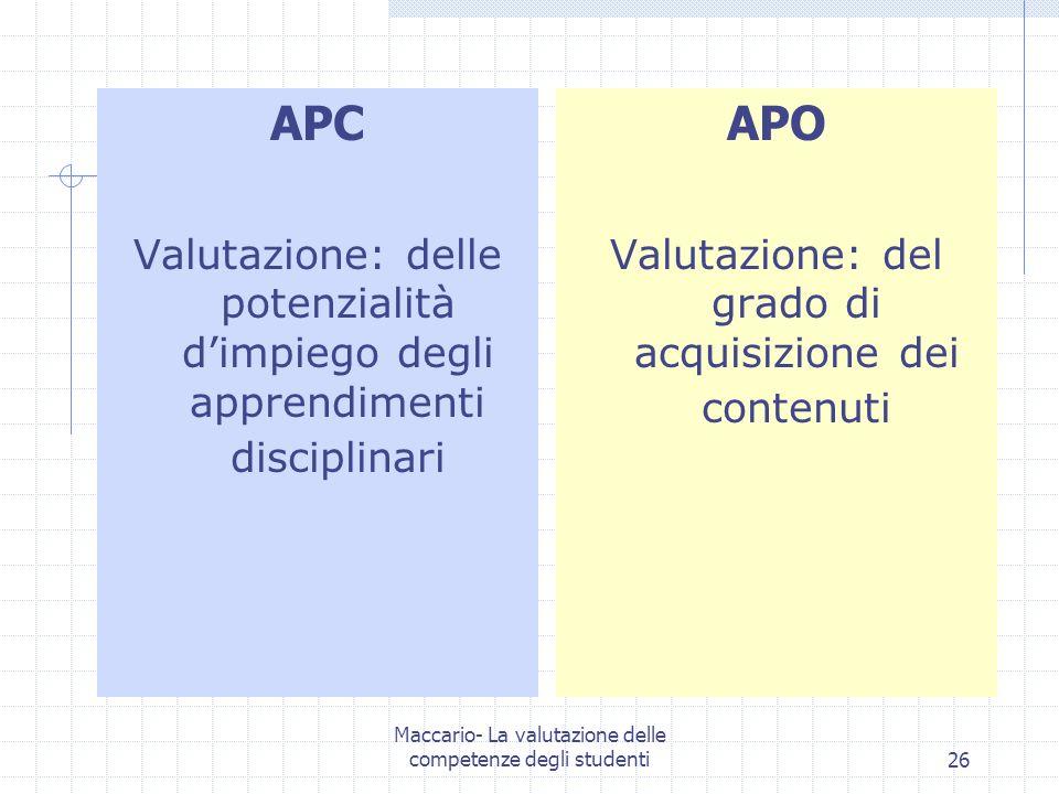Maccario- La valutazione delle competenze degli studenti26 APC Valutazione: delle potenzialità dimpiego degli apprendimenti disciplinari APO Valutazione: del grado di acquisizione dei contenuti