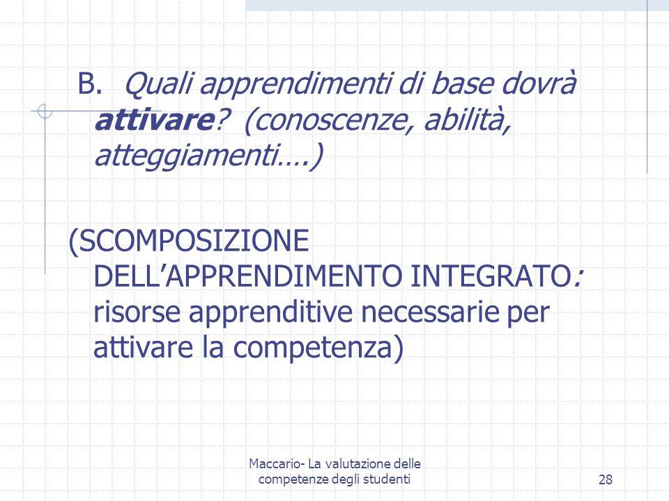 Maccario- La valutazione delle competenze degli studenti28 B. Quali apprendimenti di base dovrà attivare? (conoscenze, abilità, atteggiamenti….) (SCOM