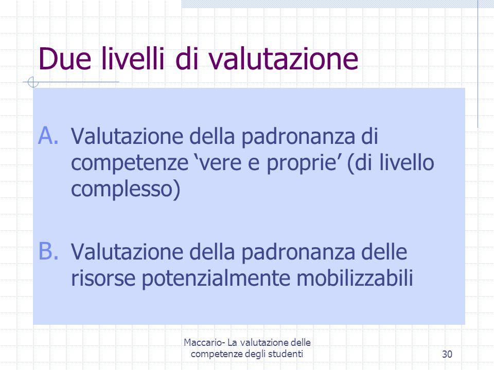 Maccario- La valutazione delle competenze degli studenti30 Due livelli di valutazione A. Valutazione della padronanza di competenze vere e proprie (di