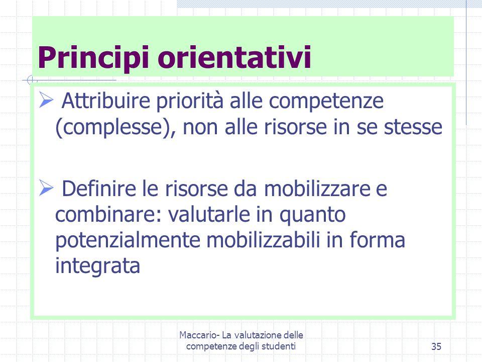 Maccario- La valutazione delle competenze degli studenti35 Principi orientativi Attribuire priorità alle competenze (complesse), non alle risorse in se stesse Definire le risorse da mobilizzare e combinare: valutarle in quanto potenzialmente mobilizzabili in forma integrata