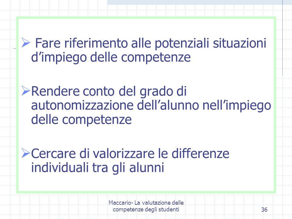Maccario- La valutazione delle competenze degli studenti36 Fare riferimento alle potenziali situazioni dimpiego delle competenze Rendere conto del gra