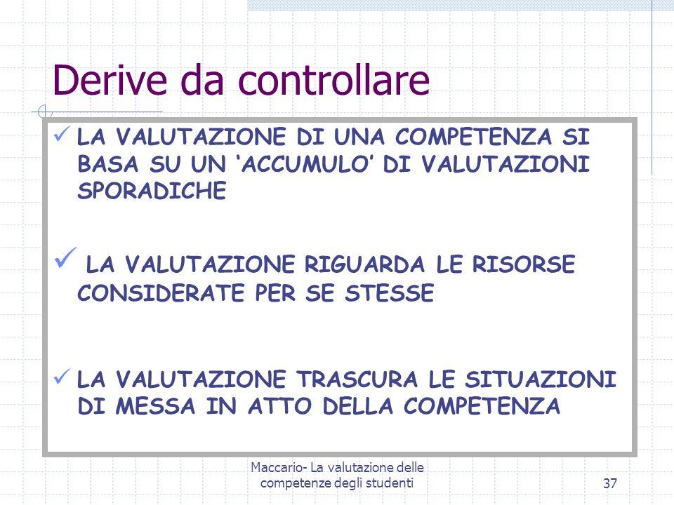 Maccario- La valutazione delle competenze degli studenti37 Derive da controllare LA VALUTAZIONE DI UNA COMPETENZA SI BASA SU UN ACCUMULO DI VALUTAZION