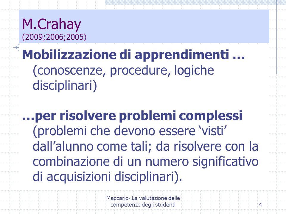 Maccario- La valutazione delle competenze degli studenti4 Mobilizzazione di apprendimenti … (conoscenze, procedure, logiche disciplinari) …per risolve