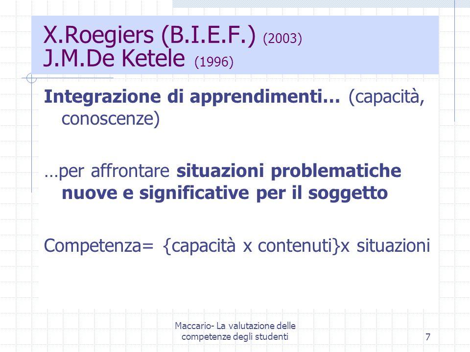 7 X.Roegiers (B.I.E.F.) (2003) J.M.De Ketele (1996) Integrazione di apprendimenti… (capacità, conoscenze) …per affrontare situazioni problematiche nuo