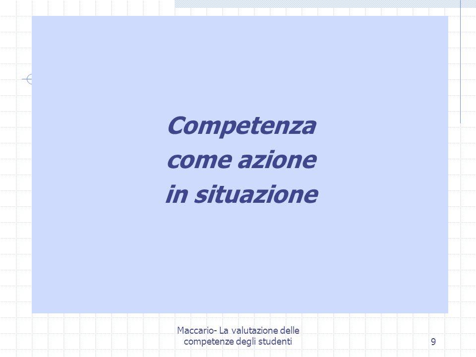 Maccario- La valutazione delle competenze degli studenti10 B.Rey (2003) Competenza come attitudine a svolgere efficacemente un compito (scolastico) (compito = attività finalizzata la cui funzione è riconosciuta socialmente)
