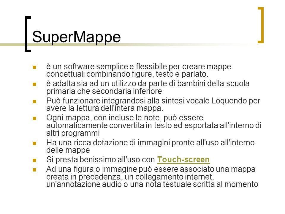 SuperMappe è un software semplice e flessibile per creare mappe concettuali combinando figure, testo e parlato. è adatta sia ad un utilizzo da parte d