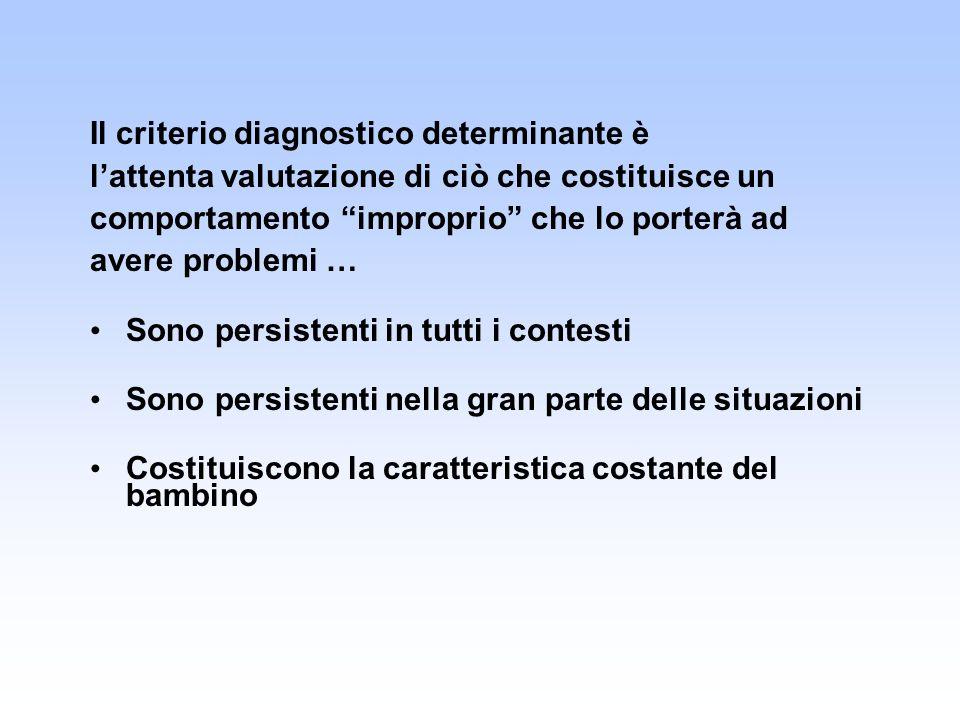 Il criterio diagnostico determinante è lattenta valutazione di ciò che costituisce un comportamento improprio che lo porterà ad avere problemi … Sono