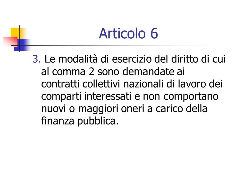 Articolo 6 3. Le modalità di esercizio del diritto di cui al comma 2 sono demandate ai contratti collettivi nazionali di lavoro dei comparti interessa