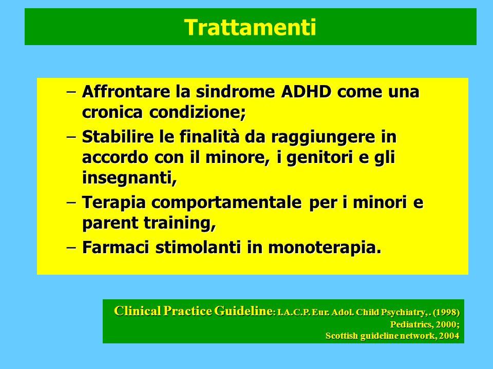 Trattamenti –Affrontare la sindrome ADHD come una cronica condizione; –Stabilire le finalità da raggiungere in accordo con il minore, i genitori e gli insegnanti, –Terapia comportamentale per i minori e parent training, –Farmaci stimolanti in monoterapia.