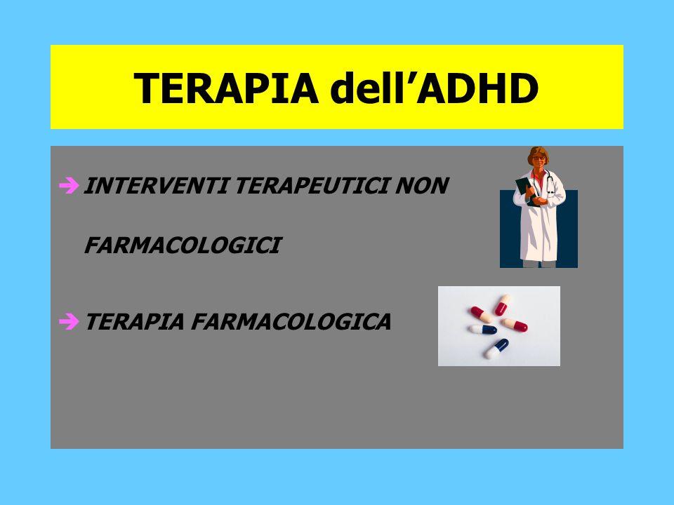 TERAPIA dellADHD INTERVENTI TERAPEUTICI NON FARMACOLOGICI TERAPIA FARMACOLOGICA