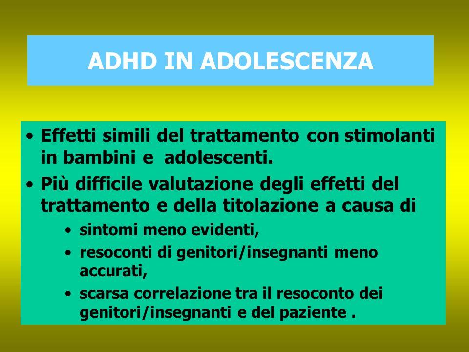 ADHD IN ADOLESCENZA Effetti simili del trattamento con stimolanti in bambini e adolescenti.