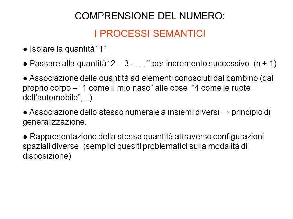 COMPRENSIONE DEL NUMERO: I PROCESSI SEMANTICI Isolare la quantità 1 Passare alla quantità 2 – 3 -.... per incremento successivo (n + 1) Associazione d