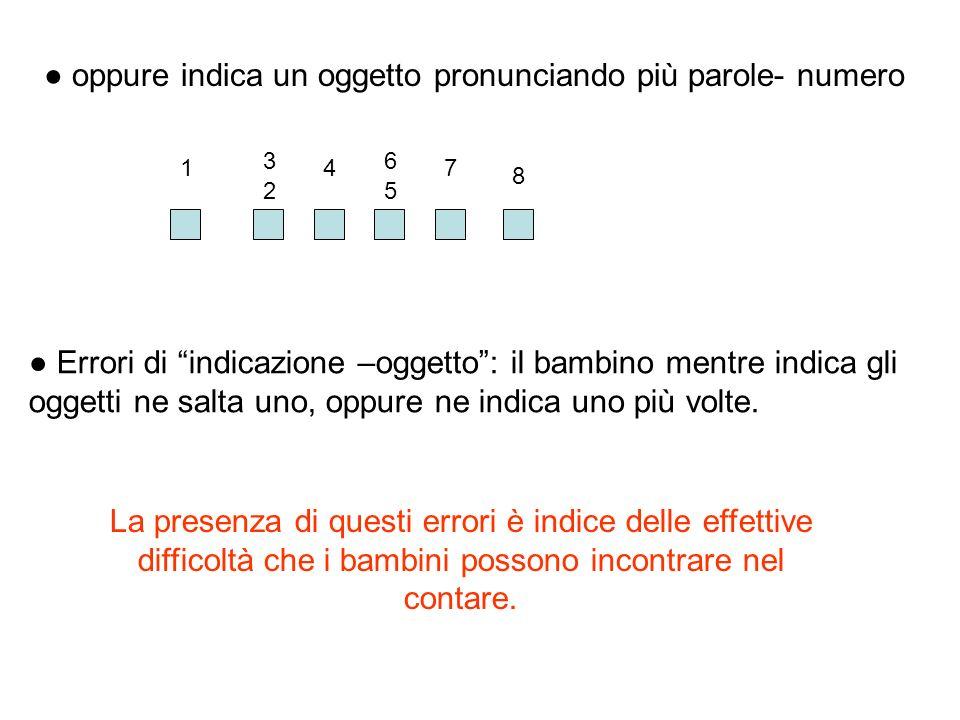 Errori di indicazione –oggetto: il bambino mentre indica gli oggetti ne salta uno, oppure ne indica uno più volte. oppure indica un oggetto pronuncian