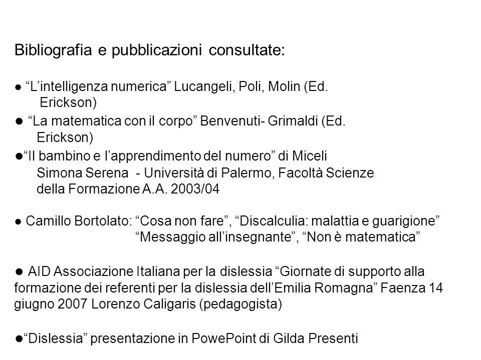 Bibliografia e pubblicazioni consultate: Lintelligenza numerica Lucangeli, Poli, Molin (Ed. Erickson) La matematica con il corpo Benvenuti- Grimaldi (