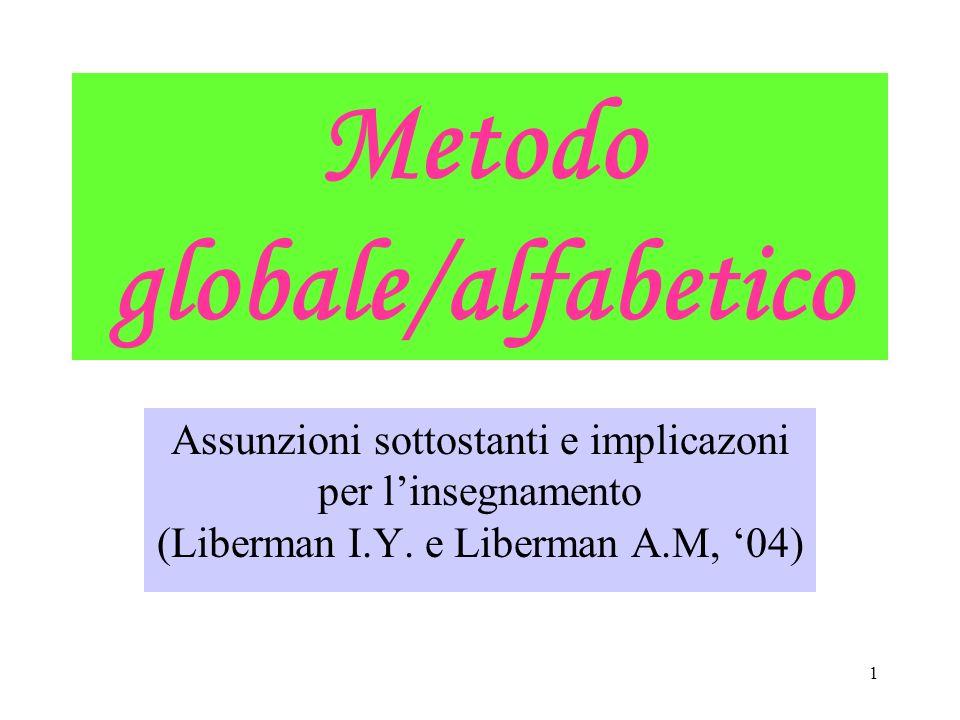 1 Metodo globale/alfabetico Assunzioni sottostanti e implicazoni per linsegnamento (Liberman I.Y. e Liberman A.M, 04)