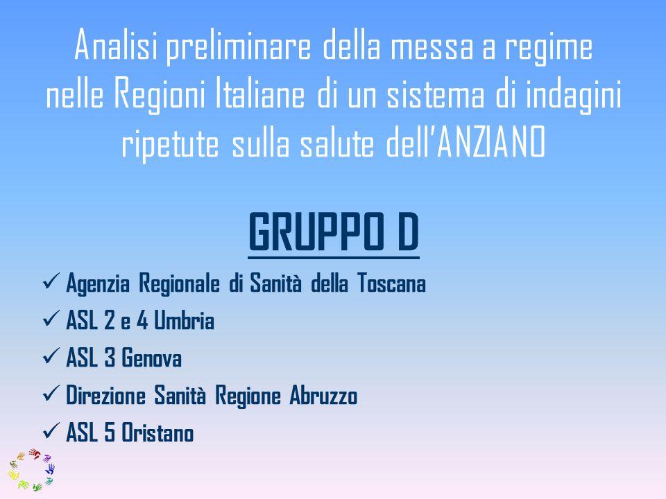 Analisi preliminare della messa a regime nelle Regioni Italiane di un sistema di indagini ripetute sulla salute dellANZIANO GRUPPO D Agenzia Regionale