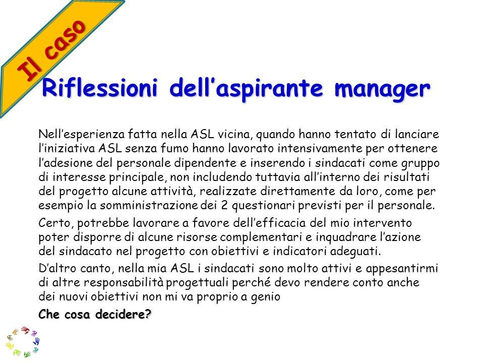 Riflessioni dellaspirante manager Nellesperienza fatta nella ASL vicina, quando hanno tentato di lanciare liniziativa ASL senza fumo hanno lavorato in