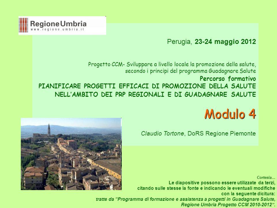 Perugia, 23-24 maggio 2012 Progetto CCM - Sviluppare a livello locale la promozione della salute, secondo i principi del programma Guadagnare Salute Percorso formativo PIANIFICARE PROGETTI EFFICACI DI PROMOZIONE DELLA SALUTE NELLAMBITO DEI PRP REGIONALI E DI GUADAGNARE SALUTE Modulo 4 Modulo 4 Claudio Tortone, DoRS Regione Piemonte Cortesia… Le diapositive possono essere utilizzate da terzi, citando sulle stesse la fonte e indicando le eventuali modifiche con la seguente dicitura: tratte da Programma di formazione e assistenza a progetti in Guadagnare Salute, Regione Umbria Progetto CCM 2010-2012.