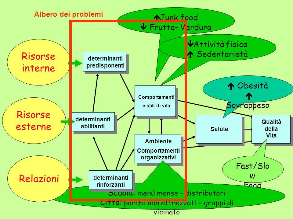 Salute Comportamenti e stili di vita Ambiente Comportamenti organizzativi Qualità della Vita Obesità Sovrappeso Fast/Slo w Food Junk food Frutta- Verd