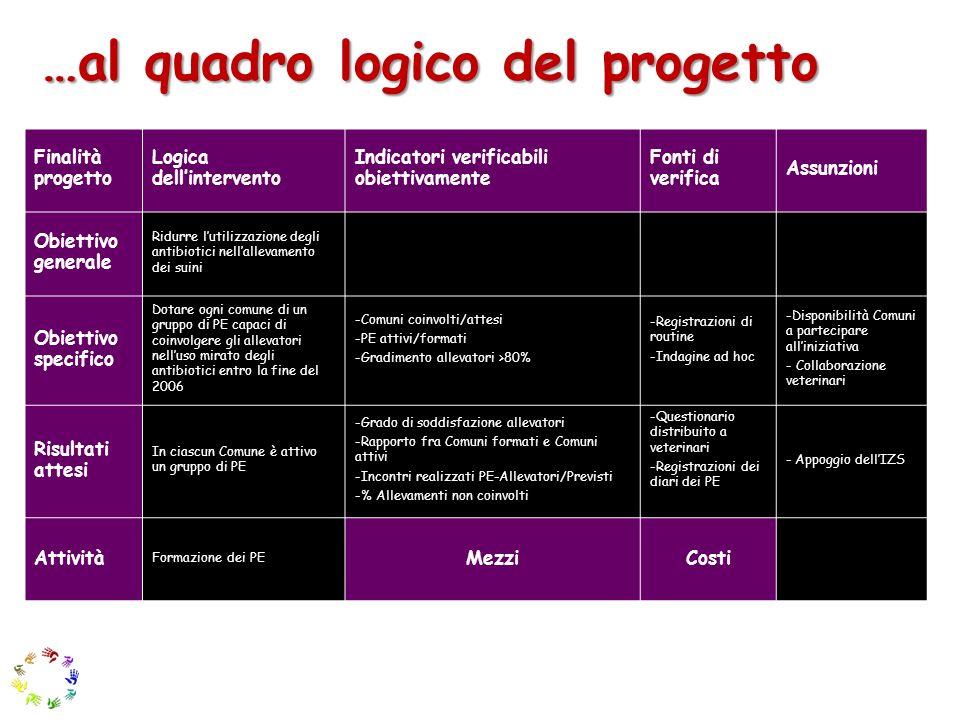 …al quadro logico del progetto Finalità progetto Logica dellintervento Indicatori verificabili obiettivamente Fonti di verifica Assunzioni Obiettivo g
