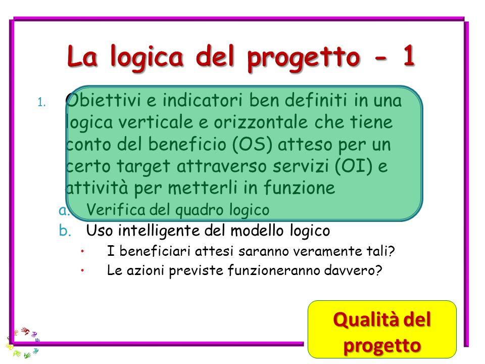 1. Obiettivi e indicatori ben definiti in una logica verticale e orizzontale che tiene conto del beneficio (OS) atteso per un certo target attraverso