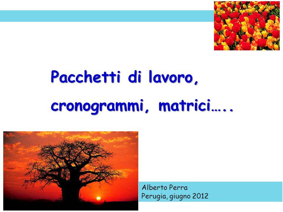 Alberto Perra Perugia, giugno 2012 Pacchetti di lavoro, cronogrammi, matrici…..