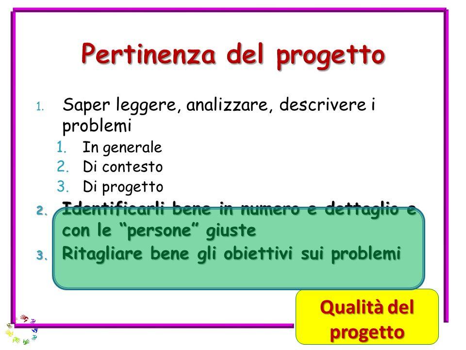 1.Saper leggere, analizzare, descrivere i problemi 1.In generale 2.Di contesto 3.Di progetto 2.