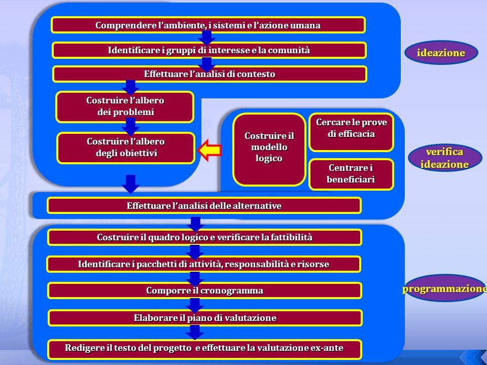 Cercare le prove di efficacia Costruire il modello logico Centrare i beneficiari Comprendere lambiente, i sistemi e lazione umana Identificare i grupp