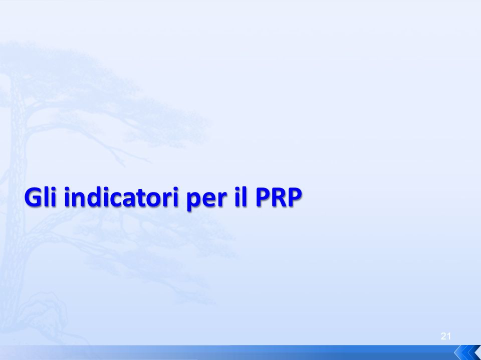 21 Gli indicatori per il PRP