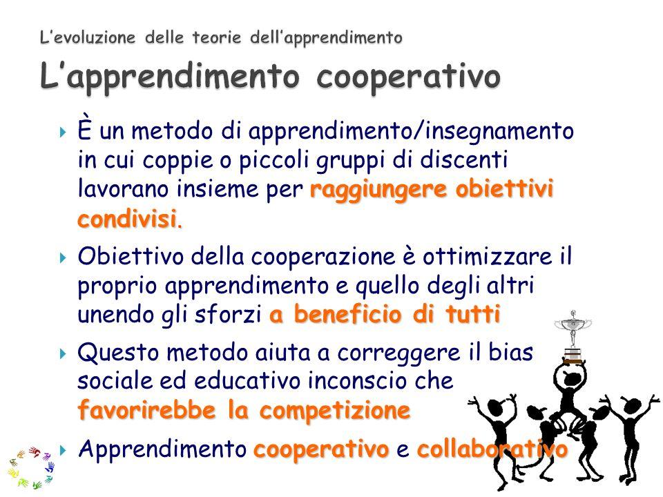 raggiungere obiettivi condivisi. È un metodo di apprendimento/insegnamento in cui coppie o piccoli gruppi di discenti lavorano insieme per raggiungere