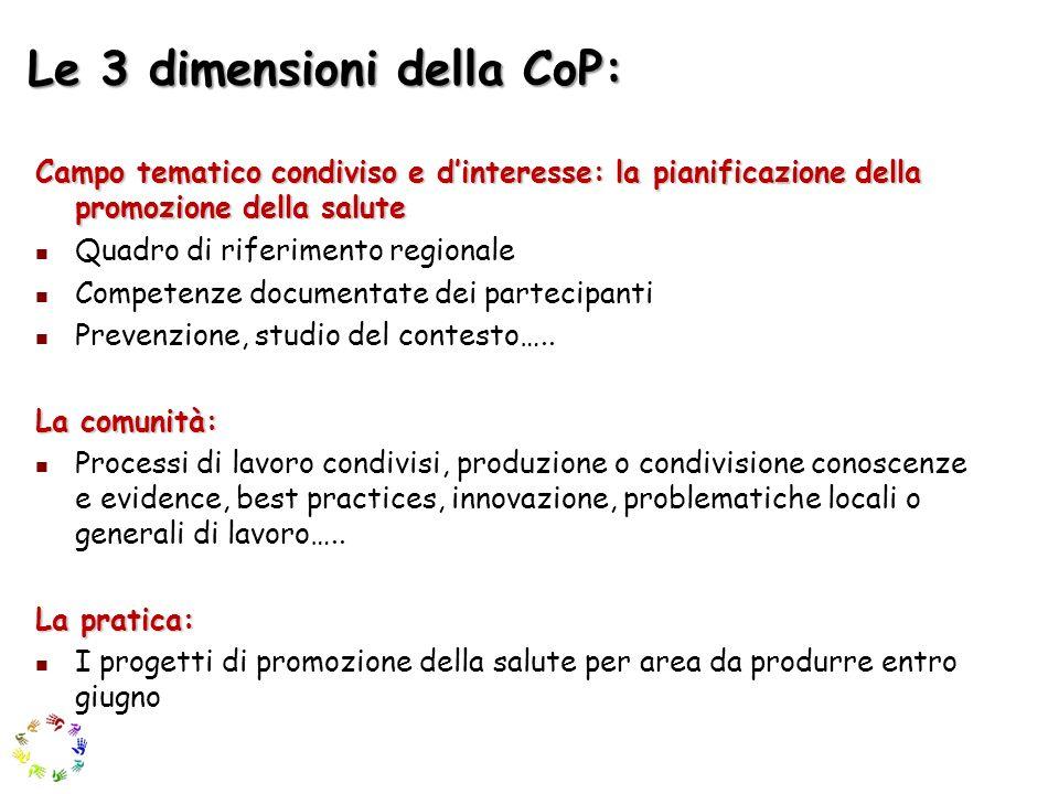 Le 3 dimensioni della CoP: Campo tematico condiviso e dinteresse: la pianificazione della promozione della salute Quadro di riferimento regionale Comp
