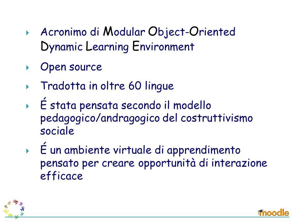 Acronimo di M odular O bject- O riented D ynamic L earning E nvironment Open source Tradotta in oltre 60 lingue É stata pensata secondo il modello ped