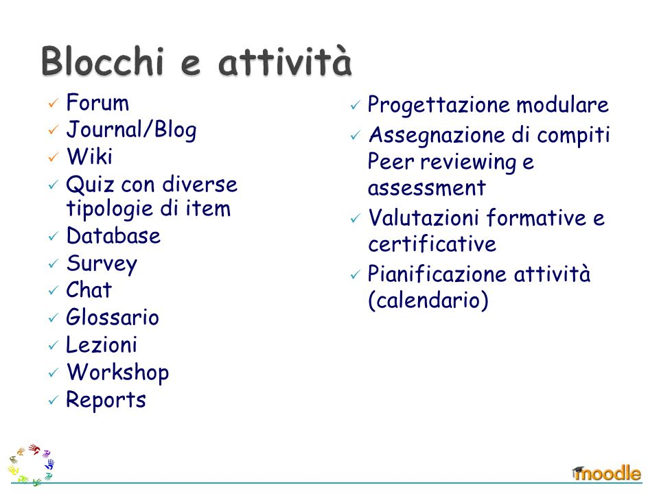 Forum Journal/Blog Wiki Quiz con diverse tipologie di item Database Survey Chat Glossario Lezioni Workshop Reports Progettazione modulare Assegnazione