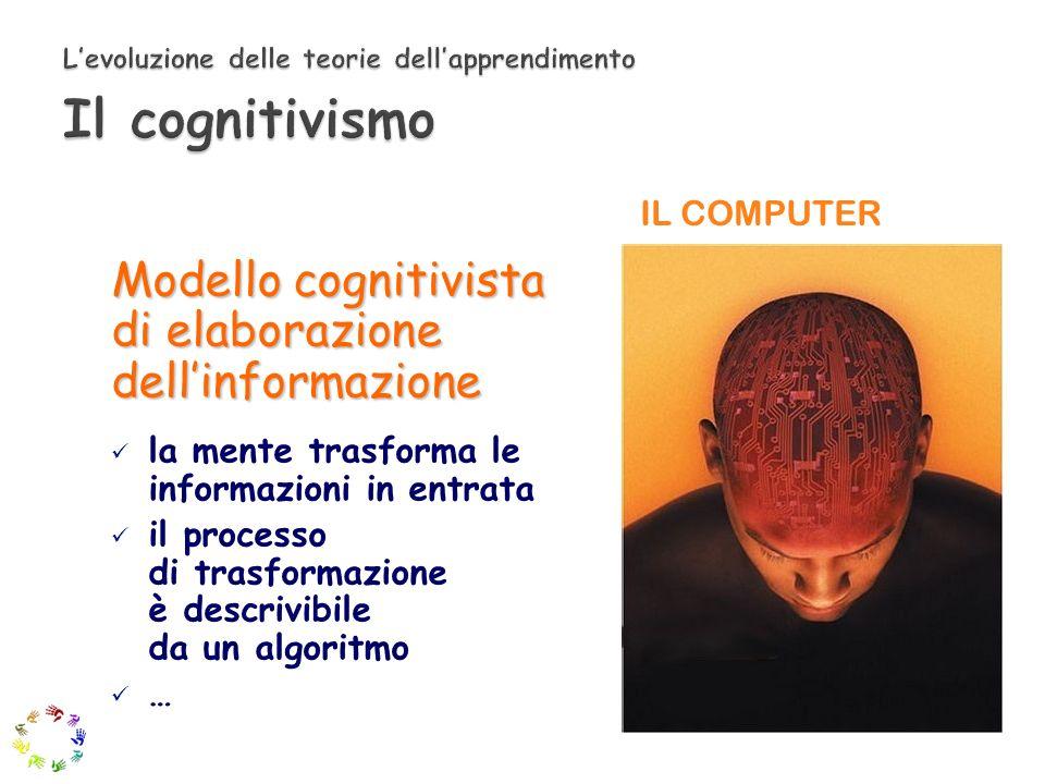 Modello cognitivista di elaborazione dellinformazione la mente trasforma le informazioni in entrata il processo di trasformazione è descrivibile da un